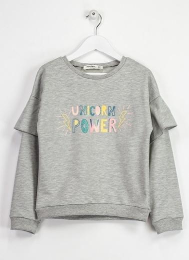 Morhipo Kids Kolu Fırfır Detaylı Baskılı Sweatshirt Gri